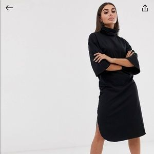 Asos high-neck midi dress with trumpet sleeves